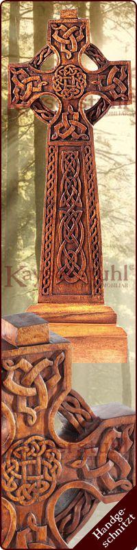 Wolfskreuz Wandbild groß Holz Dekoration Wolf Kreuz Deko Wikinger Mittelalter