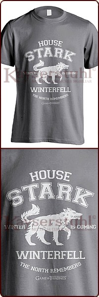 "Game Of Thrones T-Shirt ""House Stark Winterfell Direwolf"""