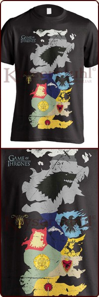 "Game Of Thrones T-Shirt ""Westeros Sigils Map"""