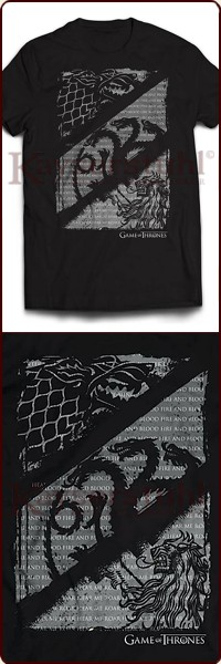 "Game Of Thrones T-Shirt ""Wolves, Dragons & Lions"""